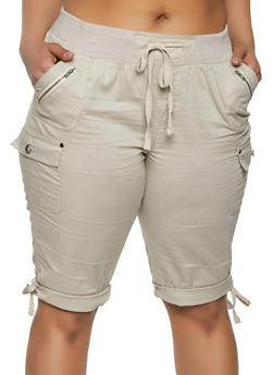 Plus Size Khaki Shorts for Women