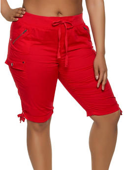 Red Plus Size Spandex Shorts