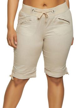 Plus Size Tie Leg Bermuda Shorts - 0860038342925