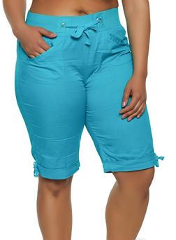 Plus Size Tie Cuff Bermuda Shorts | 0860038342926 - 0860038342926