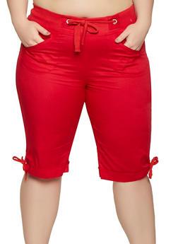Plus Size Tie Cuff Bermuda Shorts   0860038342926 - 0860038342926