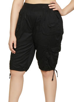 Womens Plus Size Black Solid Shorts