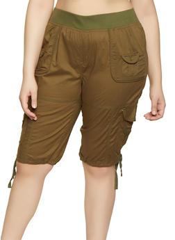 Plus Size Solid Cargo Bermuda Shorts - 0860038342928