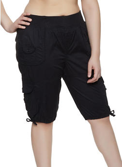 Womens Plus Size Black Cargo Shorts