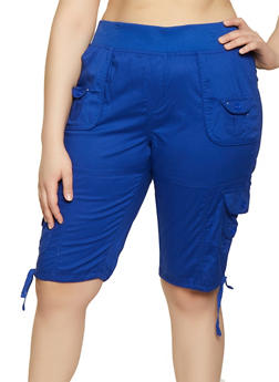 Plus Size Pull On Cargo Bermuda Shorts - 0860038342929