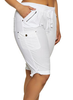 Plus Size Tie Cuff Bermuda Shorts - 0860038342949