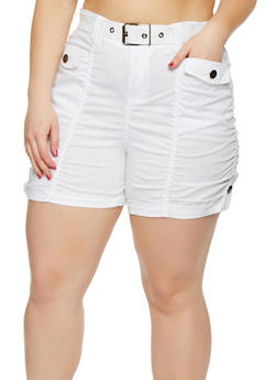 Plus Size Belted Cargo Shorts - 0860038348272