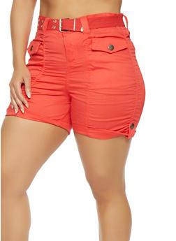 Plus Size Belted Cargo Shorts - 0860038348272