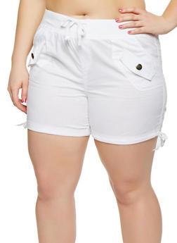 Plus Size Drawstring Cargo Shorts - 0860038348277