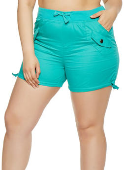 Plus Size Drawstring Cargo Shorts - 0860038348277