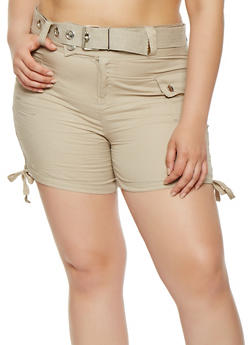 Plus Size Belted Cargo Shorts - 0860038348279