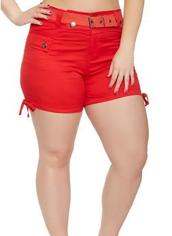 Plus Size Belted Cargo Shorts - 0860038348279