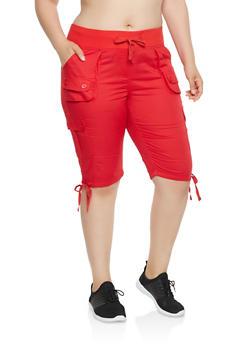 Plus Size Drawstring Hem Cargo Bermuda Shorts - 0860038349245