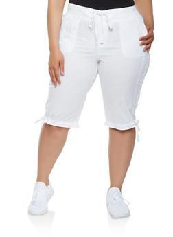 Plus Size Tie Hem Cargo Capri Pants - 0860038349251