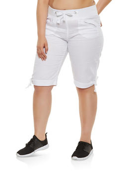 Plus Size Fixed Cuff Cargo Bermuda Shorts - 0860038349253