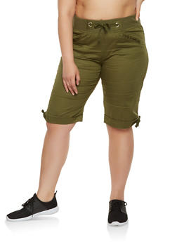 Plus Size Fixed Cuff Cargo Bermuda Shorts - 0860038349253