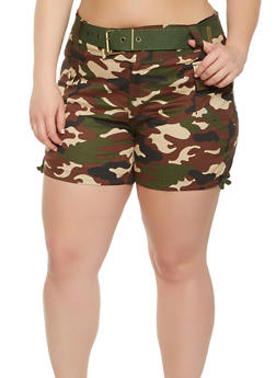 Plus Size Belted Camo Cargo Shorts - 0860038349271