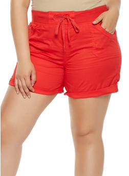 Plus Size Solid Cargo Shorts - 0860038349278