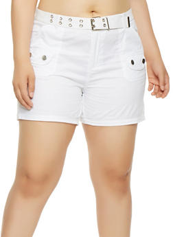 Plus Size Belted Cargo Shorts - 0860038349290