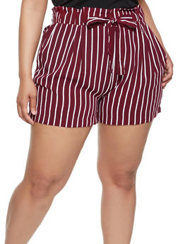 Plus Size Striped Tie Front Shorts - 0860054264462