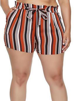 Plus Size Striped Paper Bag Waist Shorts - 0860054264467