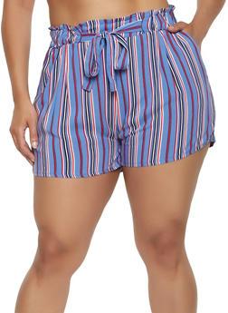 Plus Size Paper Bag Waist Striped Shorts - 0860054264469