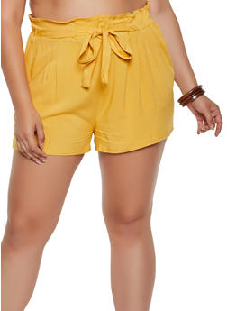 Plus Size Paper Bag Waist Lightweight Shorts - 0860054267040