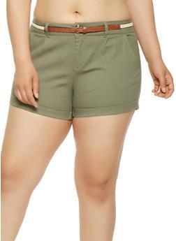 Plus Size Belted Khaki Shorts - 0860054268953
