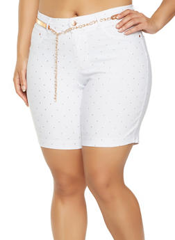 Plus Size Studded Bermuda Shorts - 0860056570091