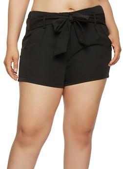 Plus Size Tie Front Shorts - 0860056570212
