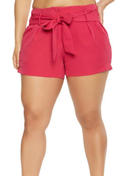 Plus Size Tie Front Shorts - 0860056570212