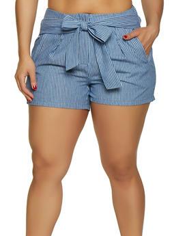 Plus Size Striped Shorts - 0860056570322