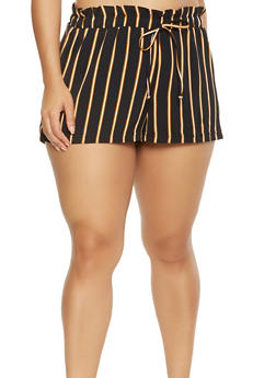 Plus Size Striped Paper Bag Waist Shorts - 0860056571458