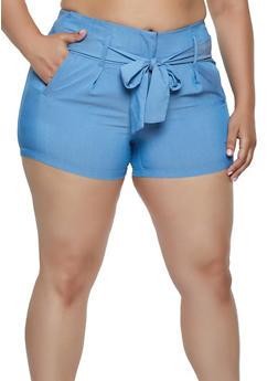 Plus Size Tie Front Shorts | 0860056573213 - 0860056573213