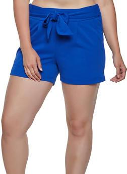 Plus Size Tie Front Crepe Knit Shorts - 0860056573277