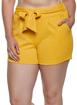 Plus Size Tie Front Crepe Knit Shorts - 0860056573277