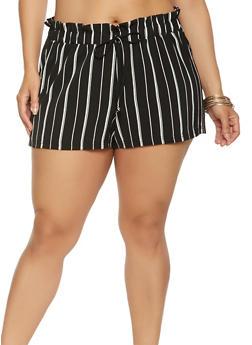 Plus Size Striped Paper Bag Waist Shorts - 0860056574135