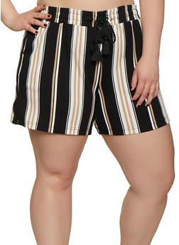 Plus Size Textured Knit Elastic Waist Striped Shorts - 0860060583405