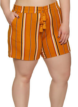 Plus Size Elastic Waist Textured Knit Striped Shorts - 0860060583514