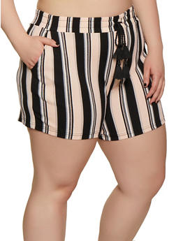 Plus Size Striped Textured Knit Shorts - 0860060583688