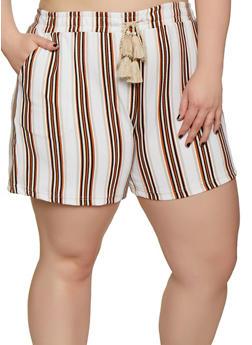 Plus Size Elastic Waist Striped Shorts - 0860060583689