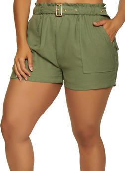Plus Size Crepe Knit Belted Shorts - 0860062707153