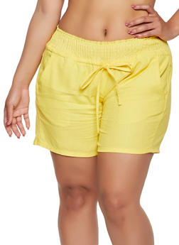 Plus Size Smocked Waist Shorts - 0860062707178