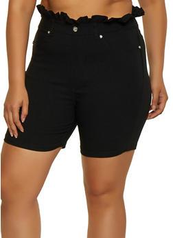 Plus Size Paper Bag Waist Bermuda Shorts - 0860063401966