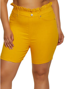 Plus Size Paper Bag Waist Bermuda Shorts - 0860063401966