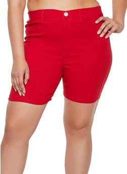 Plus Size Solid Stretch Bermuda Shorts - 0860063405735