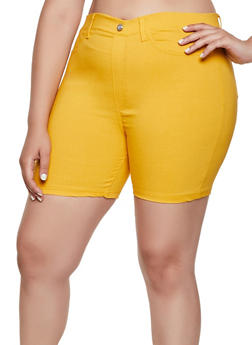 Plus Size Solid Stretch Bermuda Shorts - 0860063405735