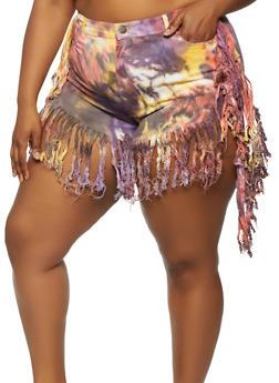 Plus Size Tie Dye Fringe Shorts - 0860064721649
