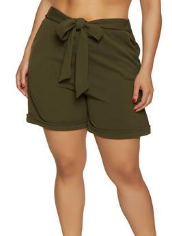 Plus Size Crepe Tie Front Shorts - 0860074010839