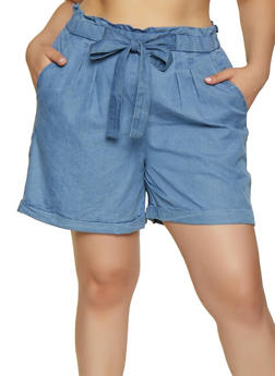 Plus Size Chambray Tie Front Shorts - 0860074017159